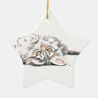 Ornement Étoile En Céramique Ragondin mignon Kitty du Maine d'aquarelle