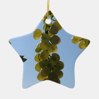 Ornement Étoile En Céramique Raisins blancs sur la vigne contre le ciel bleu