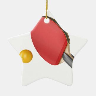 Ornement Étoile En Céramique Raquette et boule de ping-pong