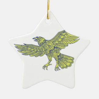 Ornement Étoile En Céramique Raven commun pilotant le mandala