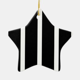 Ornement Étoile En Céramique Rayure noire avec le blanc