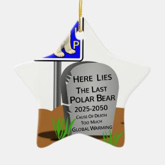 Ornement Étoile En Céramique Réchauffement climatique, ours blanc 2050 de