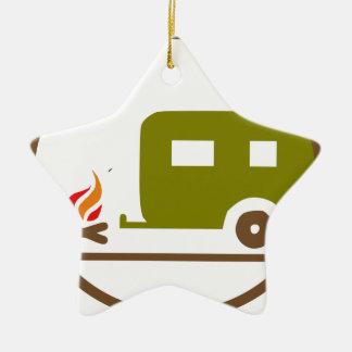 Ornement Étoile En Céramique Remorque et feu de camp du camping rv
