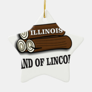 Ornement Étoile En Céramique Rondins de l'Illinois de Lincoln