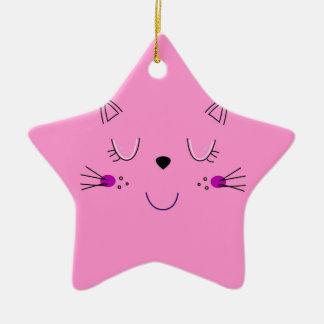 Ornement Étoile En Céramique Rose mignon de chatons