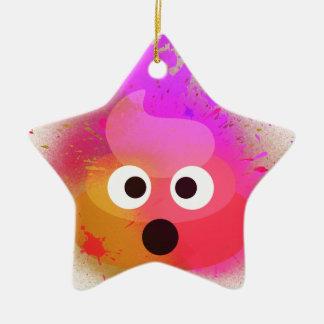 Ornement Étoile En Céramique Rose/pourpre de peinture de jet de dunette d'Emoji