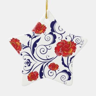 Ornement Étoile En Céramique Roses abstraits d'arc-en-ciel