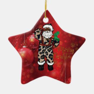 Ornement Étoile En Céramique rouge africain de Claus de léopard de père Noël