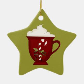 Ornement Étoile En Céramique Rouge d'amant de chocolat chaud avec le vert