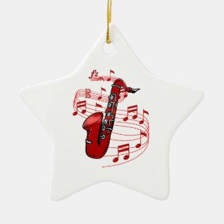 Ornement Étoile En Céramique Saxo rouge avec des notes de musique