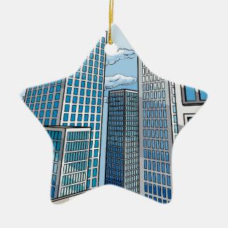 Ornement Étoile En Céramique Scène de bâtiments de ville d'arrière - plan