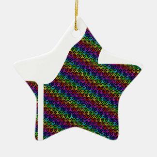 Ornement Étoile En Céramique signe de paix coloré