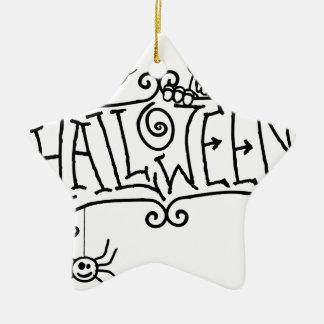 Ornement Étoile En Céramique Signe heureux de bande dessinée de Halloween