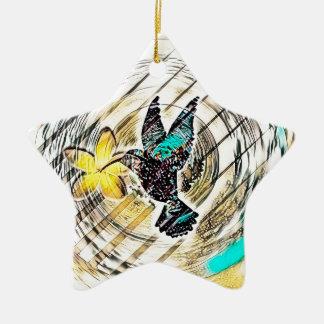 Ornement Étoile En Céramique Silhouette de colibri