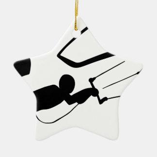 Ornement Étoile En Céramique Silhouette de surfer de vent