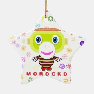 Ornement Étoile En Céramique Singe-Morocko Vacance-Mignon heureux