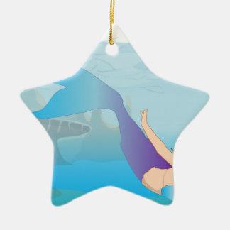 Ornement Étoile En Céramique Sirène