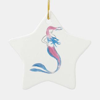 Ornement Étoile En Céramique Sirène colorée