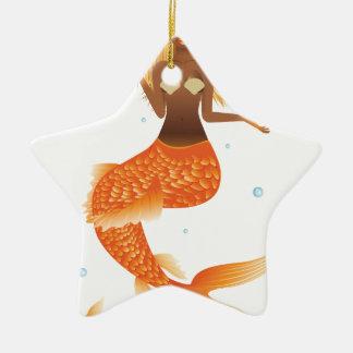 Ornement Étoile En Céramique Sirène de queue de poissons d'or