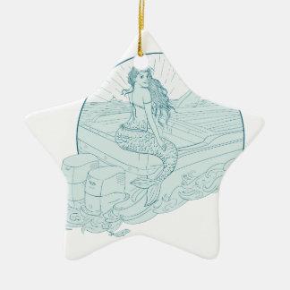 Ornement Étoile En Céramique Sirène se reposant sur le dessin de bateau