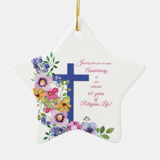 Ornement Étoile En Céramique soixantième Anniversaire, nonne, croix religieuse