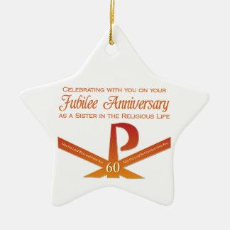 Ornement Étoile En Céramique soixantième Croix de la nonne Pax d'anniversaire