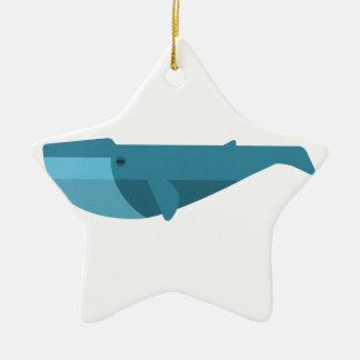 Ornement Étoile En Céramique Style de primitif de baleine bleue