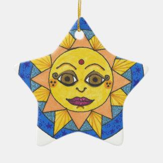 Ornement Étoile En Céramique Sun heureux