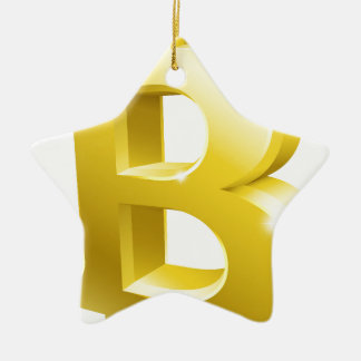 Ornement Étoile En Céramique Symbole de signe d'or de Bitcoin 3d