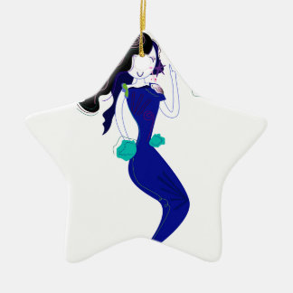 Ornement Étoile En Céramique T-shirts avec la sirène bleue