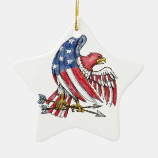 Ornement Étoile En Céramique Tatouage de drapeau de bannière étoilée d'Eagle