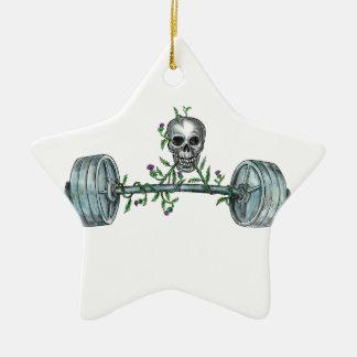 Ornement Étoile En Céramique Tatouage de levage de chardon d'haltère de crâne