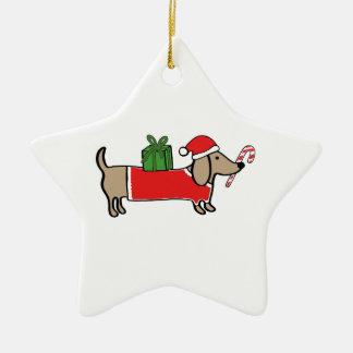 Ornement Étoile En Céramique Teckel de Noël