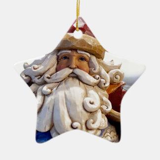 Ornement Étoile En Céramique Temps de Noël de Noël du père noël Nicholas