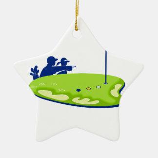 Ornement Étoile En Céramique Terrain de golf de caddie de golfeur rétro