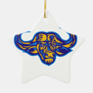 Ornement Étoile En Céramique Tête de Buffalo de cap rétro