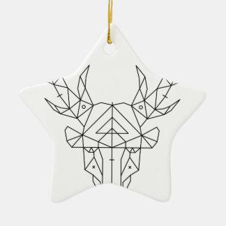 Ornement Étoile En Céramique Tête de cerfs communs