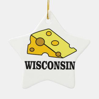 Ornement Étoile En Céramique Tête de fromage du Wisconsin
