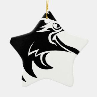 Ornement Étoile En Céramique Tête d'Eagle dans le profil