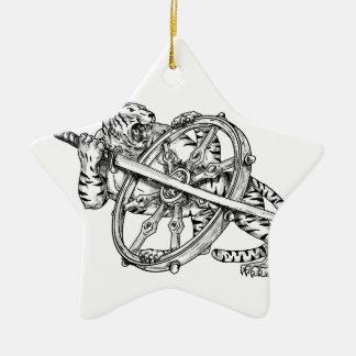 Ornement Étoile En Céramique Tigre avec le tatouage de roue de Katana et de