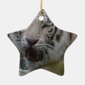 Ornement Étoile En Céramique Tigre blanc