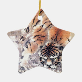 Ornement Étoile En Céramique Tigre dans la brume