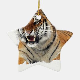 Ornement Étoile En Céramique Tigre dans la neige