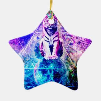 Ornement Étoile En Céramique Tigre de galaxie - tigre rose - 3d tigre - tigre