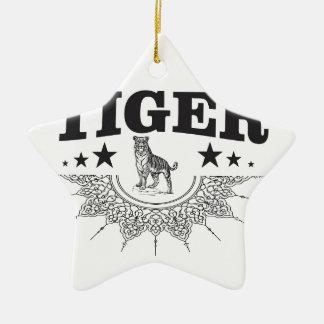 Ornement Étoile En Céramique tigre heureux