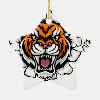 Ornement Étoile En Céramique Tigre tenant la boule de basket-ball cassant