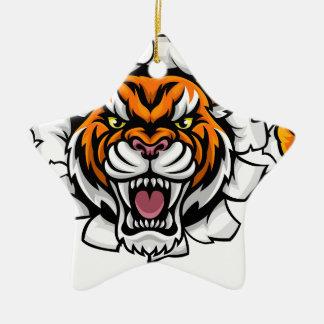 Ornement Étoile En Céramique Tigre tenant le ballon de football cassant