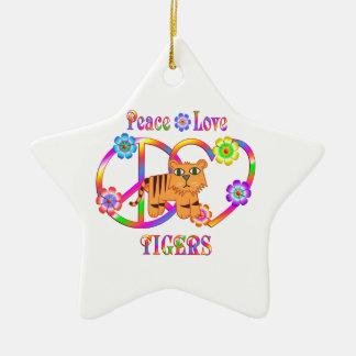 Ornement Étoile En Céramique Tigres d'amour de paix