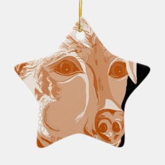 Ornement Étoile En Céramique Tons de sépia de rottweiler