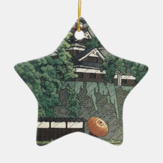 Ornement Étoile En Céramique Tour d'Udo, château de Kumamoto sous la pluie -